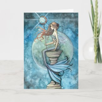 Jade Moon Mermaid Greeting Card by Molly Harrison zazzle_card