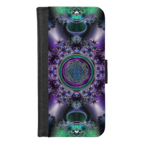 Jade 'n Amethyst Celtic Fractal iPhone Wallet Case
