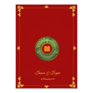 "Jade oriental double happiness wedding invitation 5.5"" x 7.5"" invitation card"