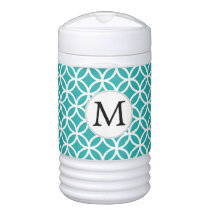 Jade Personalized Monogram  Double Rings pattern Beverage Cooler