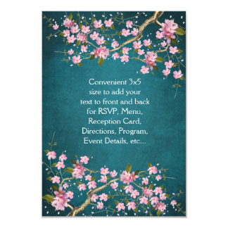Jade Pink Japanese Cherry Blossoms Wedding 3.5x5 Paper Invitation Card