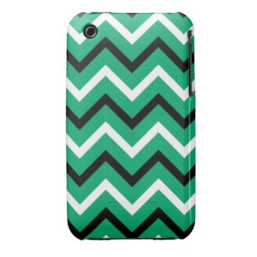 Jade, rayas blancos y negros de Chevron (zigzags) iPhone 3 Cobreturas