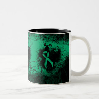 Jade Ribbon Grunge Heart Two-Tone Coffee Mug