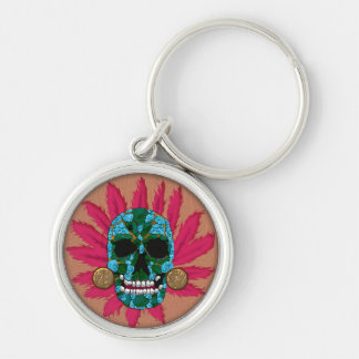 jade skull Silver-Colored round keychain