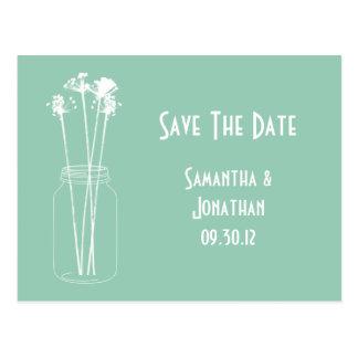 Jade White Mason Jar Wildflowers Save The Date Postcard