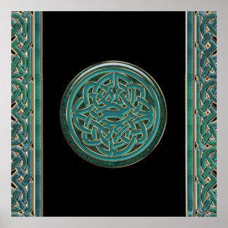 Jade y mármol verdes con el poster céltico del