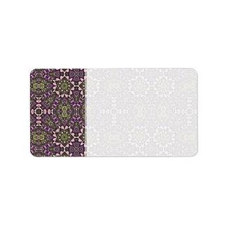 Jade y modelo violeta del caleidoscopio etiqueta de dirección