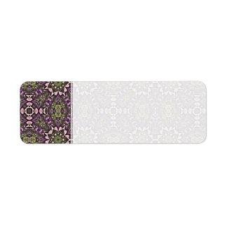 Jade y modelo violeta del caleidoscopio etiqueta de remite