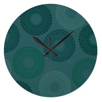 Jaded Teal Lace Doily Clocks