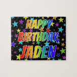 "[ Thumbnail: ""Jaden"" First Name, Fun ""Happy Birthday"" Jigsaw Puzzle ]"