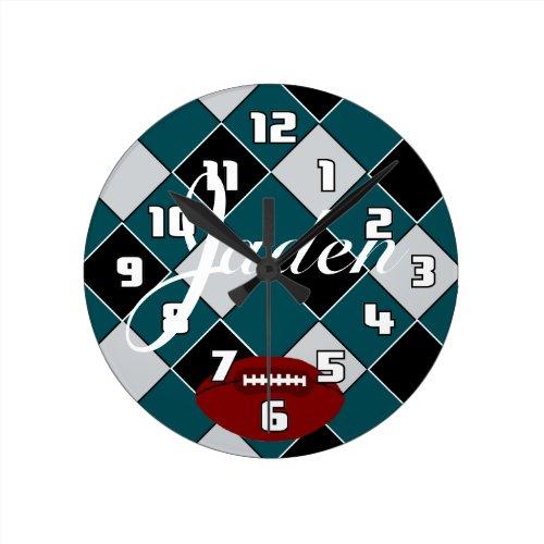 Jaden Football Green Black Silver Checked Clock