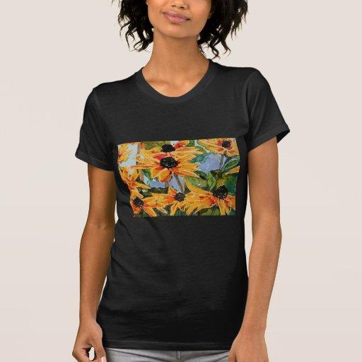 Jadeo Negro-observado amarillo del arte del Wildfl Tshirts