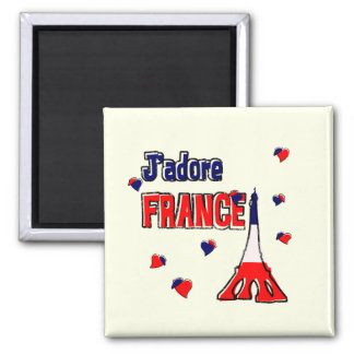 J'Adore France 2 Inch Square Magnet