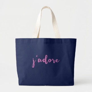 J'adore French Saying Large Tote Bag
