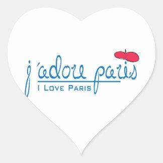 j'adore París (amor París de I) con la boina roja Pegatina En Forma De Corazón