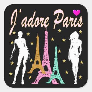 J'ADORE PARIS EIFFEL TOWER DESIGN SQUARE STICKER