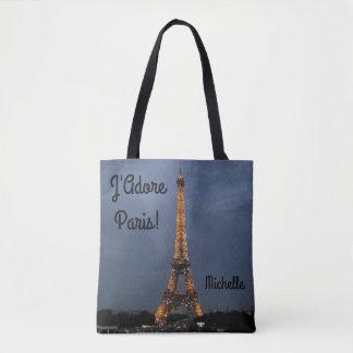 J'Adore Paris Personalized Tote Bag