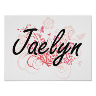 Jaelyn Artistic Name Design with Flowers Poster
