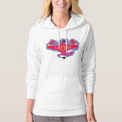 Women's American Apparel California Fleece Pullover Hoodie with Jafar: Long Live Evil design
