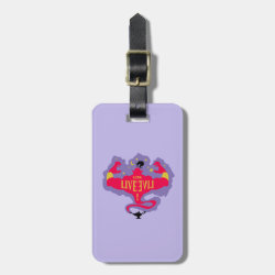 Small Luggage Tag with leather strap with Jafar: Long Live Evil design