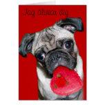 Jag älskar dig pug dog greeting card