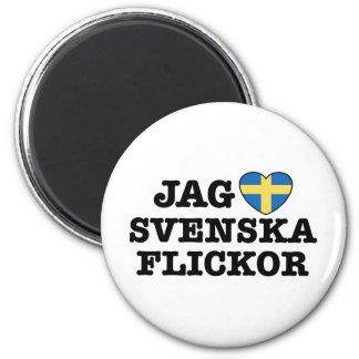 Jag Svenska Flickor 2 Inch Round Magnet
