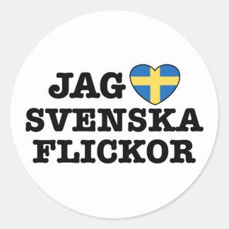 Jag Svenska Flickor Classic Round Sticker