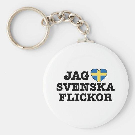 Jag Svenska Flickor Keychain