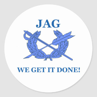 Jag We Get It Done Classic Round Sticker