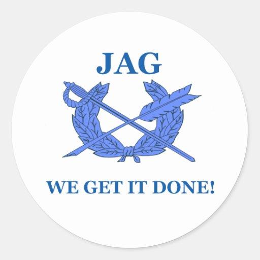 Jag We Get It Done Round Stickers