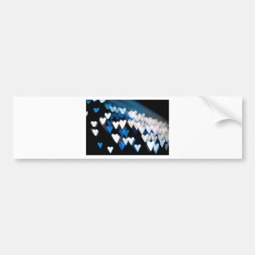 Jagged blue hearts bumper sticker