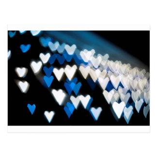 Jagged blue hearts postcard