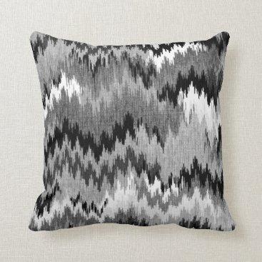 Aztec Themed Jagged Chevron Ikat   black white grey Throw Pillow