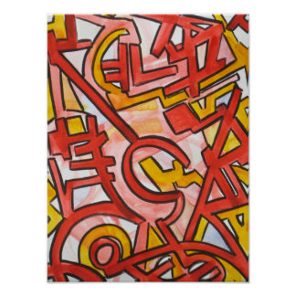 Jagged Edges-Abstract Art Hand Painted Poster