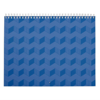 Jagged layers blue wall calendar