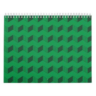 Jagged layers green2 calendars