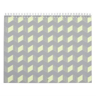 Jagged layers greys mint wall calendars
