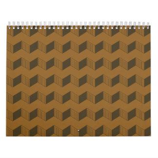 Jagged layers reddish brown wall calendars