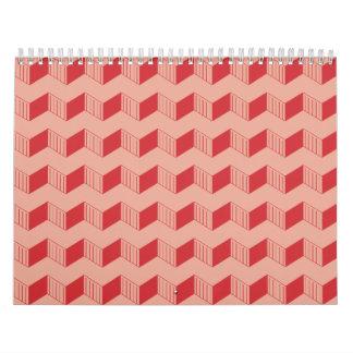 Jagged layers reds 3 wall calendar