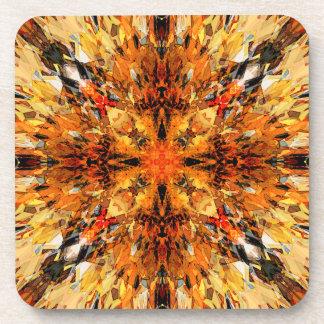 Jagged Orange Mandala Beverage Coaster