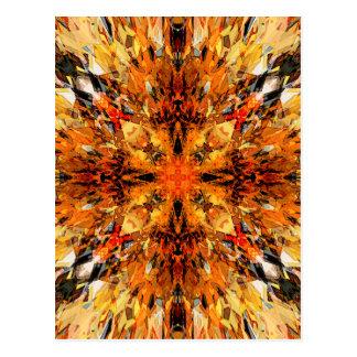 Jagged Orange Mandala Postcard
