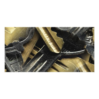 jaggered keys of silver and gold collage card