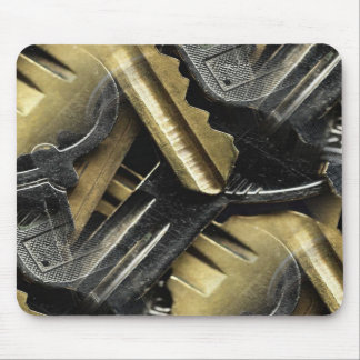 jaggered keys of silver and gold collage mouse pad