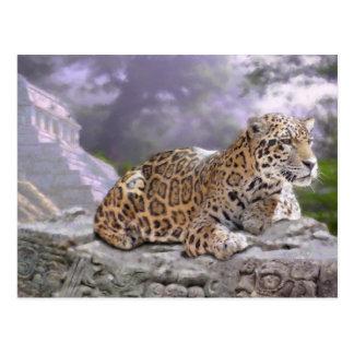 Jaguar and Mayan Temple Postcard