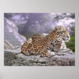 Jaguar and Mayan Temple Poster