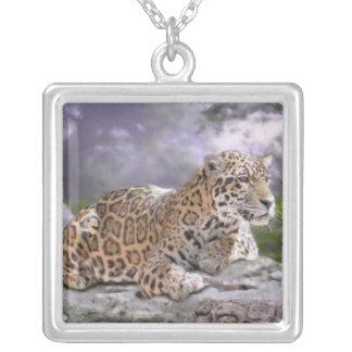 Jaguar and Mayan Temple Square Pendant Necklace