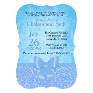 Jaguar Animal Cat Pattern   Blue   Baby Boy Shower Card
