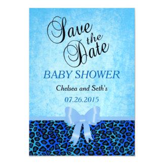 Jaguar Animal Cat Pattern   Blue   Baby Boy Shower Magnetic Card