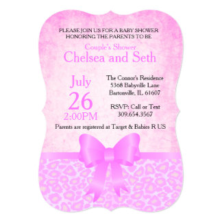 Jaguar Animal Cat Pattern| Pink | Baby Girl Shower Card