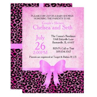 Jaguar Animal Cat Pattern  Pink   Baby Girl Shower Card